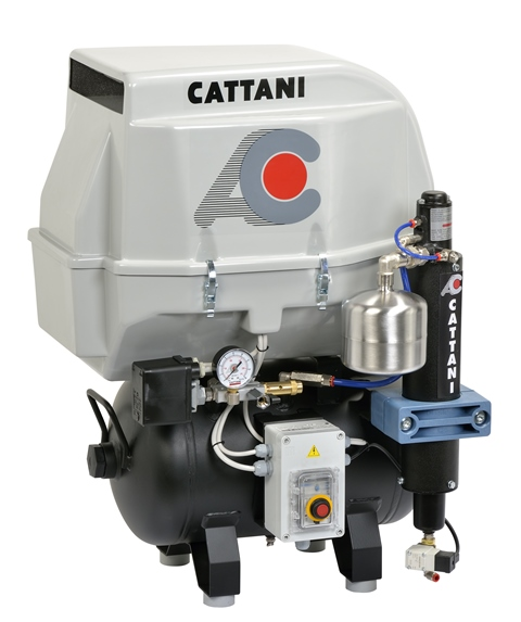 Cattani 2-cylinder compressor 30L tank with soundproof housing