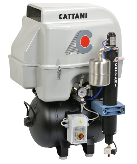 Cattani 3-cylinder compressor 45L tank with soundproof housing